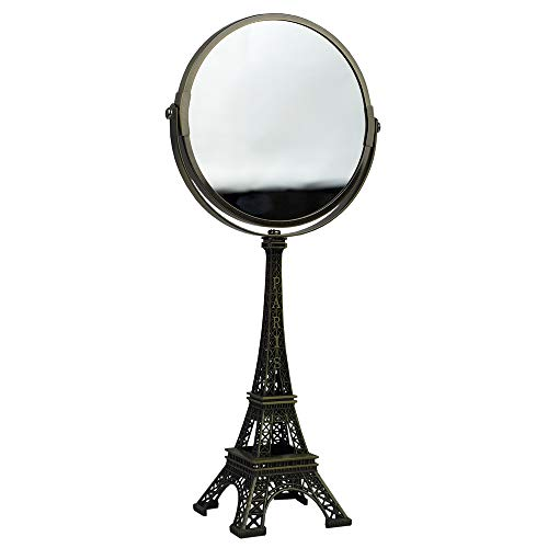Home Basics Bronze Double Sided Cosmetic Mirror Antique French Paris Eiffel Tower -
