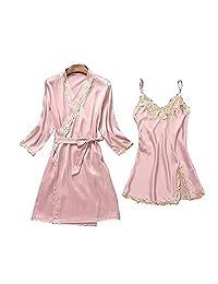 Chinashow Womens Satin Pajamas Set Sexy Ice Silk Suit Set Sleepwear/Nightwear Clothes, Pink #A