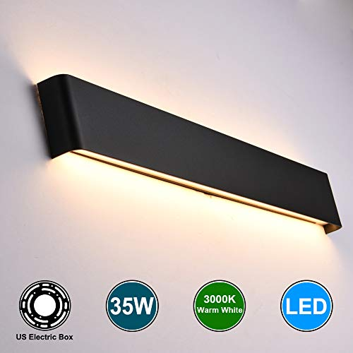 Aipsun 35W/43.3in Rectangular LED Matte Wall Mount Sconce Modern Up and Down Wall Lamp Indoor Vanity Bar Light Pathway Staircase Bedroom Bathroom Living Room Lighting Fixtures (Black,Warm White)