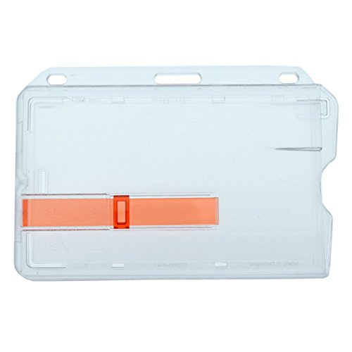 Heavy Duty Horizontal Rigid Badge Holder (Hard Plastic) with Red Extractor Slide out Tab by Specialist ID