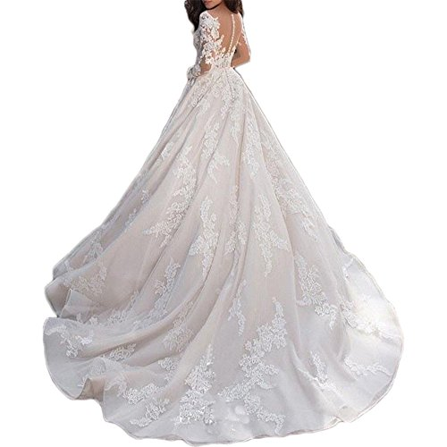 Shushaliying Women's Flower Chapel Bridal Gown Glamours Hollow Out Quinceanera Dress Halter Wedding Gown with Sleeves White,26
