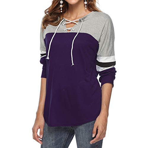 Sunhusing Women's V-Neck Cross Bandage Strap Long Sleeve Pullover Top Loose Casual Solid Color T-Shirt (2XL, 1 Purple)