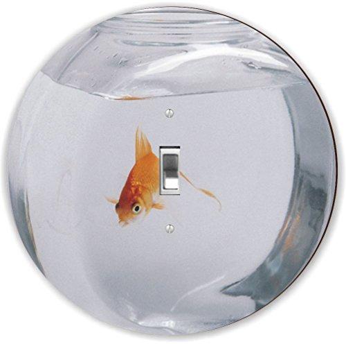 Rikki Knight RND-LSPS-192 Goldfish in Bowl Round - Single Toggle Light Switch Plate (Single Light Bowl)