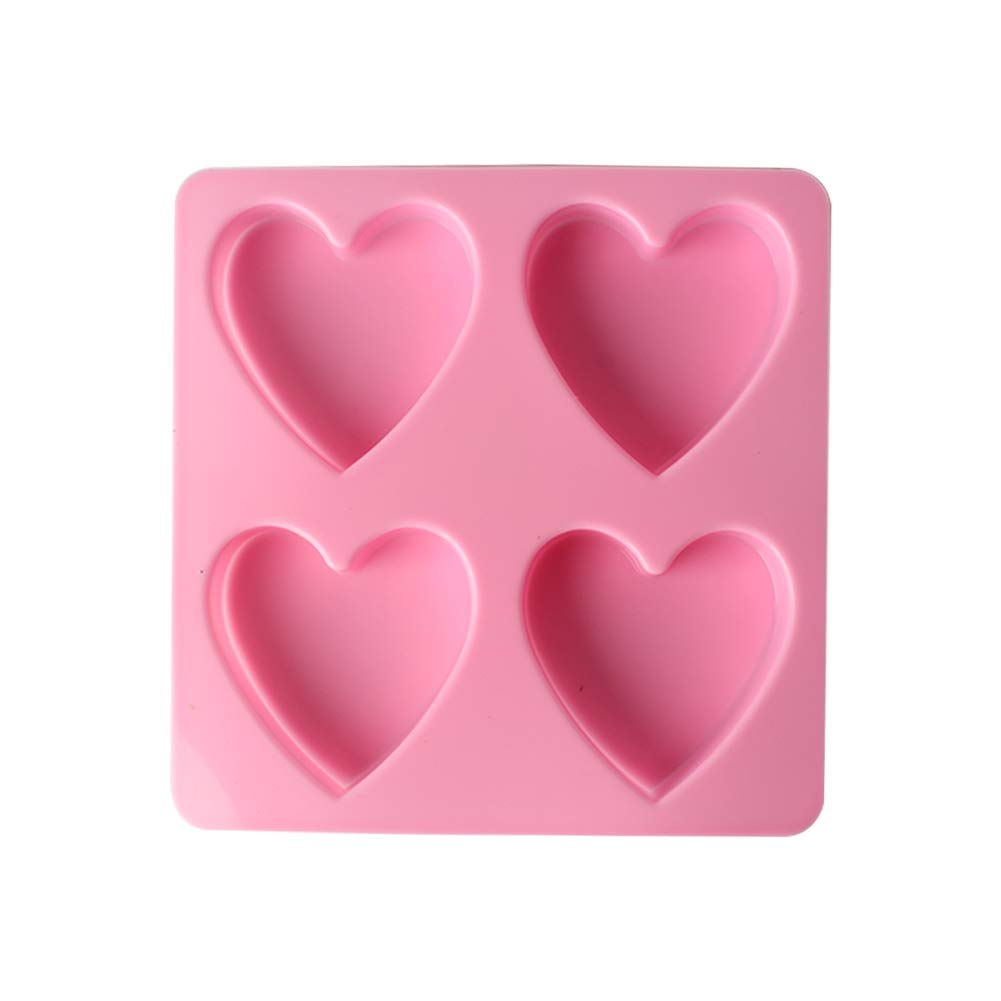 Da.Wa 4 Cavity Heart Shaped Silicone Multi Purpose Molds for Seife Fondant Cake Decorating Gumpaste Baking Cookie Chocolate Pastry Mould Kitchen Bakeware