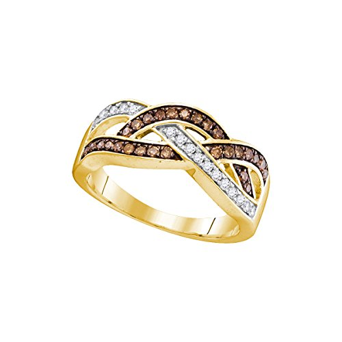 Solid 10k Yellow Gold Round White And Chocolate Brown Diamond Channel Set Curved Crossover Wedding Band OR Fashion Ring…