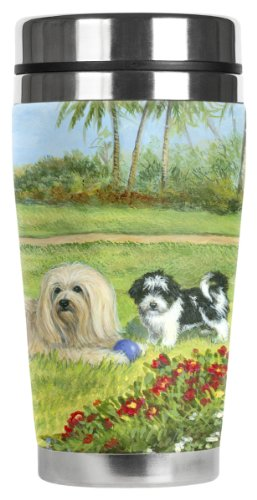 Havanese Travel Mug16-Ounce Stainless Steel Mug with Insulated Artwork Cover