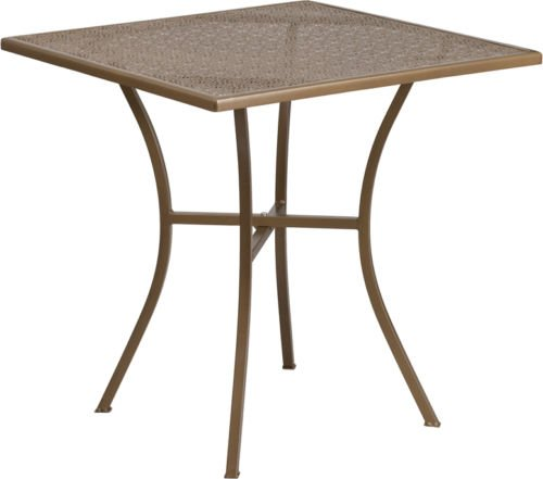 28'' Square Gold Finish Indoor-Outdoor Steel Restaurant Table - Patio Table