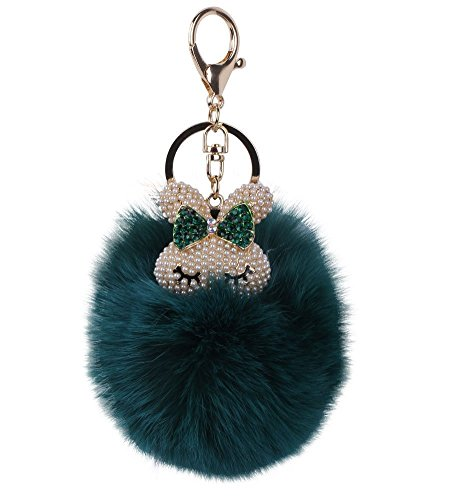 LORJE Cute Rabbit Head with Real Fox Fur Ball Pompoms Key Chain for Womens Bag or Cellphone or Car Pendant Charm( Dark green)