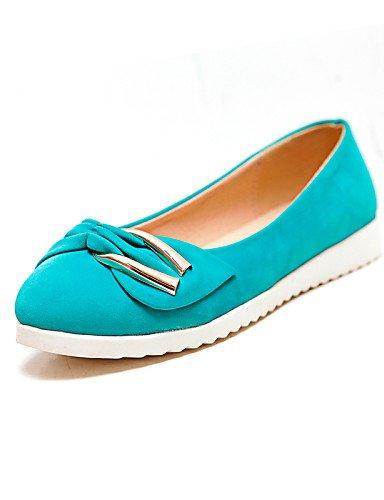 5 punta negro de zapatos 5 almendra piel talón PDX 7 eu37 cn37 5 almond Flats mujer uk4 plano azul sintética Casual de redonda rosa us6 78qE5g