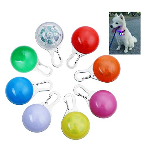 OWUDE Clip-On Dog Cat Collar Light, Waterproof Safety Night Walking LED Lights for Pet, 8 Pack Collar Charms Lights, Battery Included(Blue + Orange + Pink + Yellow + Red + Green + White + Colorful) ()