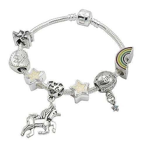 55a9ff699da2 I Believe in Unicorn - Pulsera para niñas con abalorios y colgante de  unicornio (incluye