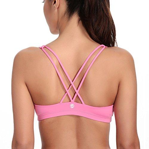 CRZ YOGA - Sujetador Deportivo Yoga Cruzados Espalda Sin Aros Para Mujer Hot Pink