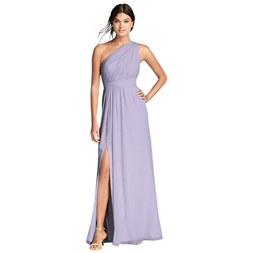 David's Bridal Long One-Shoulder Crinkle Chiffon Bridesmaid Dress Style F18055, Iris, 8]()