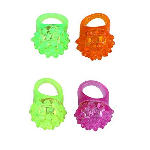 STOBOK LED Anillos Luminosos Intermitente para Niñas Decoracion para Navidad para Niños Color Aleatorio 4 Piezas Color...