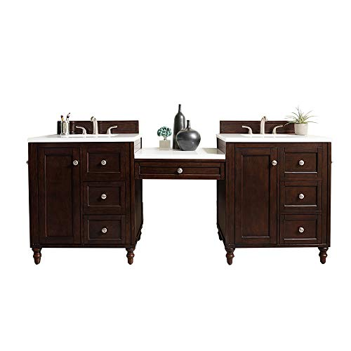 Modern Double Vanity Set in Burnished Mahogany Finish