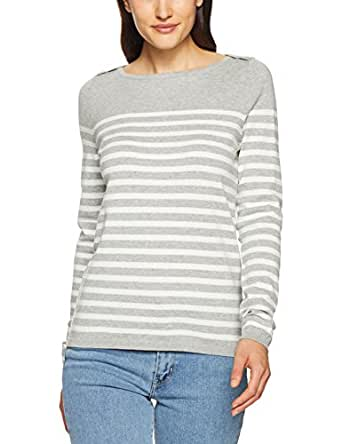 TOMMY HILFIGER Women's New Ivy Boat Neck Striped Sweater, Heather Light Grey/Snow White, X-Small