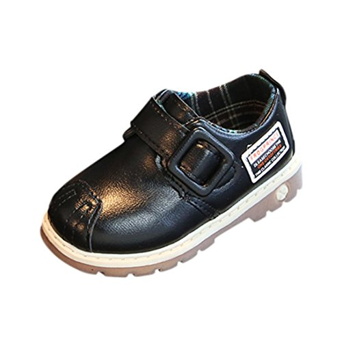 Prevently Babyschuhe Toddler Kids Children Boys Letter Leather Shoes Sneakers Anti-Slip Ankle Boot Velcro Jungen Weichen Boden Britischen Stil Stiefel Kleine Lederschuhe Schwarz