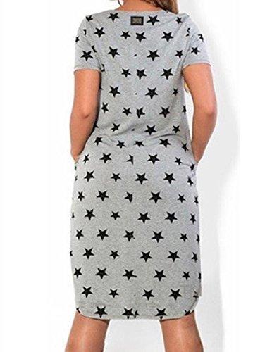 Tunica Il Vestito Coolred 6xl Sbilanciato Stelle Da donne Casuale Girocollo Dimensione Nero Più Ywx4Yza