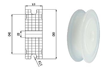 Zabi Nylon Seilrolle 60 mm fur Seil 5 mm Kunststoffprofilrollen ohne ...