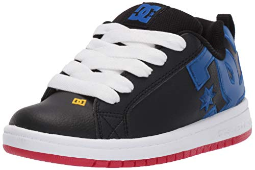 DC Boys' Court Graffik Sneaker, Navy/Blue/White, 7 M M US Big Kid