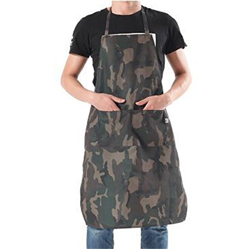 Waterproof Camouflage Big-sized Stylish Durable Workshop Apron Chef's Bib Apron with Two Pockets & Adjustable Waist Ties Kitchen Cooking Apron for Unisex Women Men HSW056