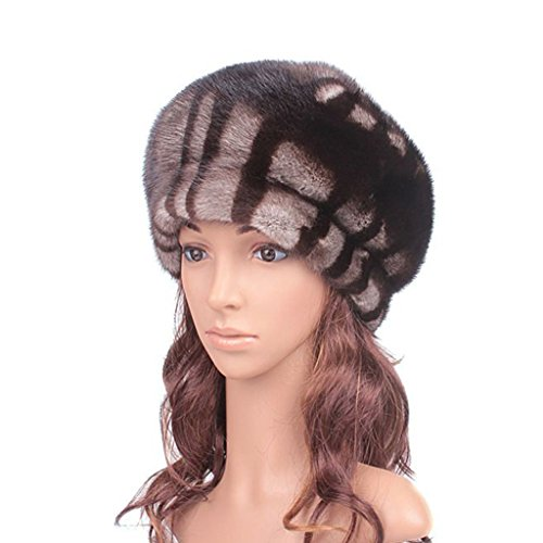 UK.GREIFF Women's Winter Mink Hair Beret Beanie Hat ( Flower )