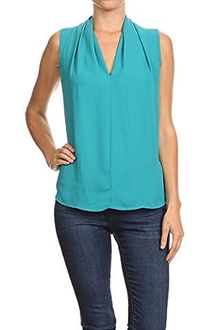 ReneeC. Women's Basic V Neck Sleeveless Office Tank Blouse Top - Made in USA (Blueglass, 2XL) - Office Basics