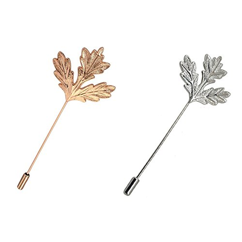 AngelShop Men Metal Brooch Pin Maple Leaf Lapel Stick Brooch Pin for Suit 2PCS Maple - Maple Leaf Pin Brooch