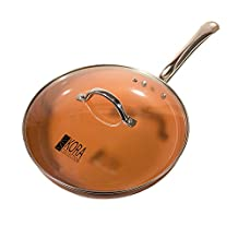 Largest 12 Inch Copper Non-Stick Frying Pan with Lid. Heat Induction Bottom Delivers Even Warming. No Oil Needed thanks to Ceramic Coating. Healthy, Easy to Clean, Dishwasher & Oven Safe