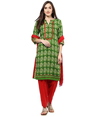 Kameez Red Salwar - Jaipur Kurti Women Green Geometrical Print Straight Fit Cotton Kurta & Red Patiala & Dupatta