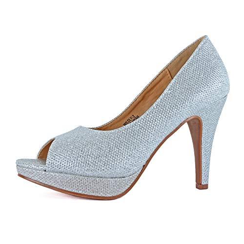 - Guilty Heart Womens Peep Toe Party Dress Stiletto Platform High Heel Pumps Shoes (7.5 M US, 2 Silver Mesh)