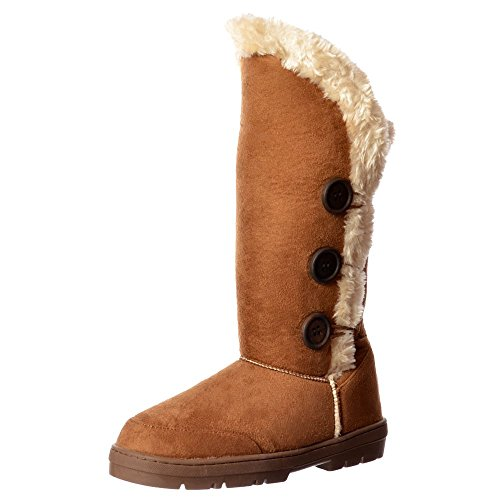 Chestnut Triple Flat Brown Boot AU4 Fur UK3 Winter EU36 US5 Lined Button 3 S0wxH0Cqp