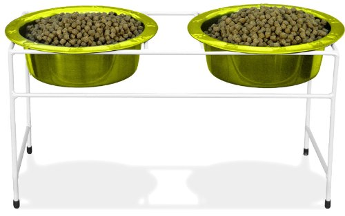 Platinum Pets Double Diner Feeder with Stainless Steel Dog Bowls, 50 oz, Lime