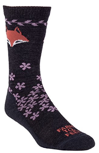 Farm 2 Feet Emeryville - Fox Graphic Crew comes with a Helicase sock ring; Size: W-L - Charcoal/Very - Emeryville Shops