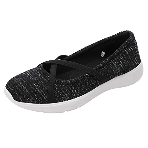 Women's Round Toe Solid Color Flat Heel Mom Shoes Soft Non-Slip Breathable Fitness Weaving Leisure Walking Slip On Shoes