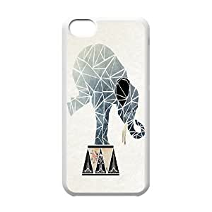 Cartoon Elephant Unique Design Cover Case with Hard Shell Protection for Iphone 5C Case lxa#870860