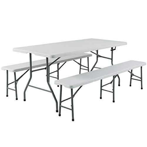 (Best Choice Products 3-Piece 6ft Portable Folding Weather-Resistant Resin Table and Bench Set Combo - White)