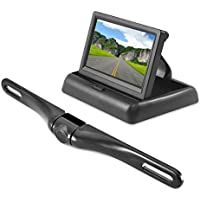 Pyle Backup Rear View Car Camera Monitor Screen System - Parking & Reverse Safety Distance Scale Lines, Waterproof, Night Vision, Pop-up Display, 4.3 LCD Video Color Display for Vehicles - (PLCM4500)