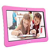 """10 Android Tablet,10.1"""" Inch 1080p Full HD Display Android 7.0,2GB+32 GB,Dual Camera Front 2MP+ Rear 5MP,Bluetooth and WiFi Blue Kid-Proof Case(Pink)"""