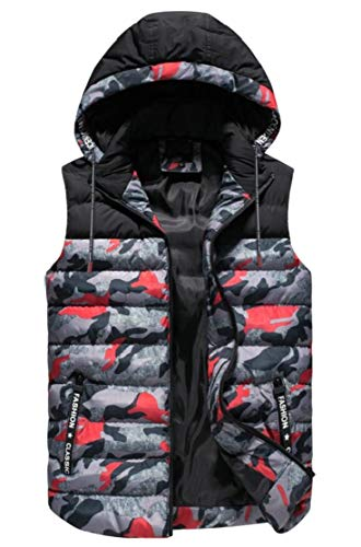 TTYLLMAO Men's Puffer Camouflage Hooded Vest Outerwear Quilted Sleeveless Jacket Red