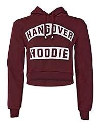 Forever Womens Long Sleeves Hangover & Work Out Fleece Sweat Crop Hoodie Top