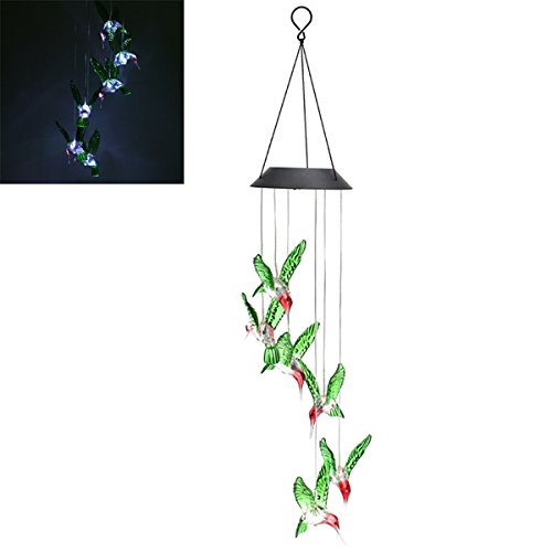 LED Solar Pendant Light Lamp Humming Bird Wind Chime Mobile Home Garden Yard Decor White Xmas by Access-Light02