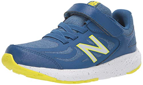 New Balance Boys' 519v1 Running Shoe, Andromeda Blue/Chambray/Sulphur Yellow, 4 XW US Big Kid