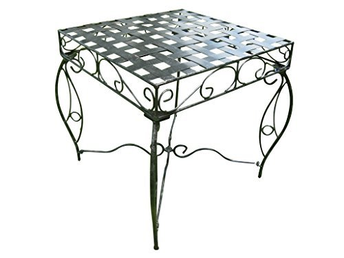 Iron Side Table - Lattice (Black Pewter) (22