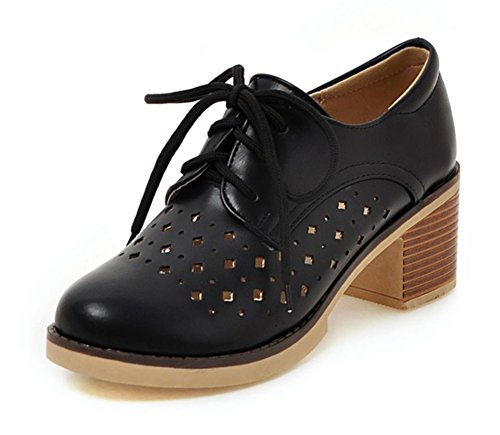 Out Hollow Oxfords Heels Round Aisun Toe Women's Up Fashion Lace Medium Black Platform Block Shoes Eqw4ZBxtBa