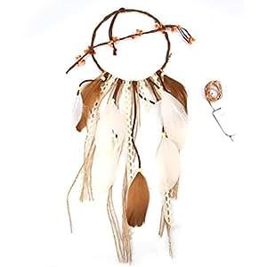 Gaddrt - Atrapasueños de plumas con purpurina para colgar adornos de boda bohemio, C