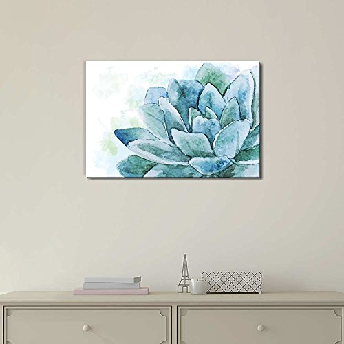 Single Flower Painted with Watercolor Shades of Blue