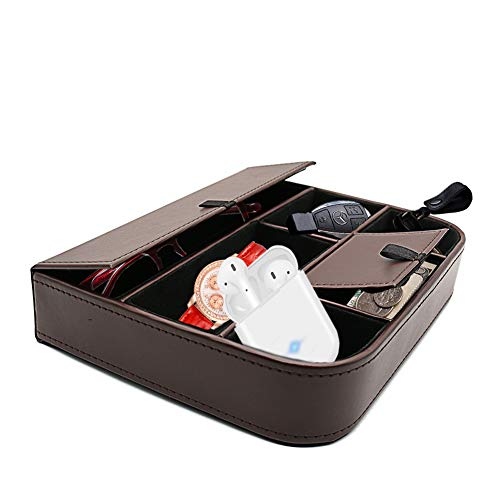 Flat Leather Drawer Tray Gifts 6-Slot Storage Box Office Supplies Desk Stationery Sundries Gadget Organizer Mesh Collection Desk Accessories Pen Pencil Holder Case Container Fosinz (Brown)