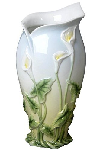 (12.5 Inch White Vase with Shaped Mouth Calla Lily Leaf Stem Motif)