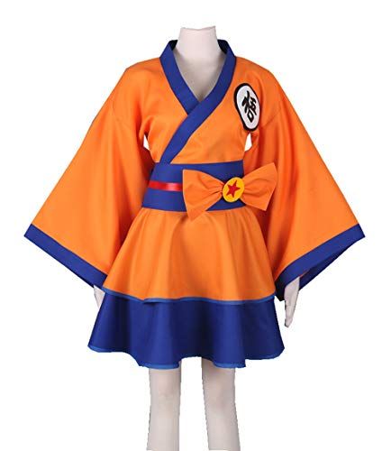 LVCOS Dragonball Z Son Goku Kakarotto Female Lolita Kimono Dress Anime Cosplay Costume Halloween
